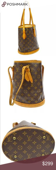 Authentic Louis Vuitton RELINED Bucket PM This classic bucket-shaped bag is crafted of traditional Louis Vuitton canvas with a solid oval base. Bag has natural vachetta cowhide leather around the bottom, a trim at the top and two tall adjustable strap handles. The interior has been re-lined by the craftsman of Louis Vuitton but it does have stains and pen marks. Leather aging on the outside. This is a very practical bag that is stylish with the touch of luxury and style, from Louis Vuitton…