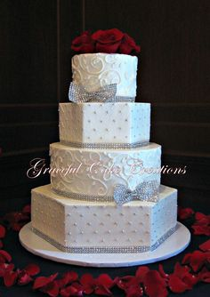 Elegant White Butter Cream Wedding Cake with Silver Bling Ribbon and Bows | Flickr - Photo Sharing!