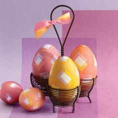 Square-Patterned Easter Eggs How-To