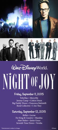 Disney's Night of Joy 2015 will take place Sept. 11 & 12 at Magic Kingdom Park! This year's group of talented artists includes four recent Grammy nominees and Night of Joy veterans like TobyMac, Skillet and Jeremy Camp. Here's the full lineup.