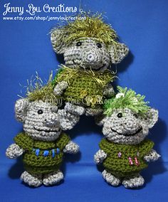 PDF Pattern Icy Mountain Trolls inspired by Frozen. $5.95 by Jenny Lou Creations. On sale for 30% off til 8-4-14