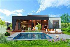 Projekt Domidea 2 d ps 119,87 m2 - koszt budowy - EXTRADOM Simple Shapes, Home Fashion, Bungalow, Concrete, House Plans, Villa, Mansions, House Styles, Outdoor Decor