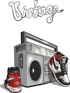 'Vintage Hip-hop Basketball Graphic' by Arte Do Hip Hop, Hip Hop Art, Sneakers Wallpaper, Nike Wallpaper, Rap Wallpaper, Dope Cartoons, Dope Cartoon Art, Graffiti Wall Art, Graffiti Drawing