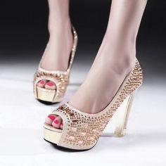 Peep Toes Women Platform Pumps High Heels Crystal Shoes for Wedding Woman