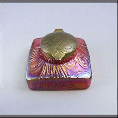 Kralik Discobolus Spiraloptisch Bohemian Art Glass Inkwell Circa 1910