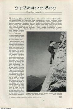 Die Schule Der Berge (Georg Von Kraus)  / Artikel, Entnommen Aus Zeitschrift/1935 - Bücher, Zeitschriften, Comics