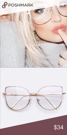 712de0f055 Clear Cat Eye Oversized Glasses Clear cat eye oversized glasses in gold or  silver. •