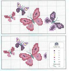 Ricami, lavori e centinaia di schemi a punto croce di tutti i tipi, gratis: Butterfly di ogni colore a punto croce