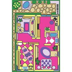 Fun Rugs childrens rugs - Fun Time Dollhouse Play Rug - x - 5178 - Plain and Simple Deals - no frills, just deals Girls Rugs, Childrens Rugs, Cool Rugs, Indoor Rugs, Accent Rugs, Kids Decor, Accent Colors, Blue Area Rugs, Colorful Rugs