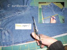 péparation du sac dans le haut du jean !                                                                                                                                                                                 Plus