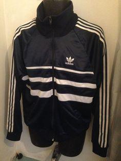 Vintage Adidas Jacket Sz L 80s hip hop Run DMC Blue shiny sweatshirt