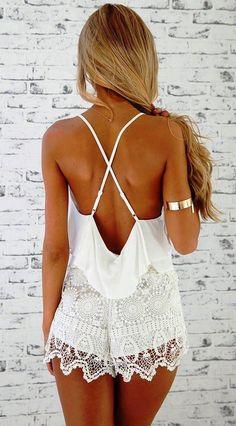 #summer style lace playsuit @wachabuy