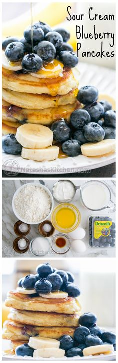 These sour cream #pancakes are fluffy and bursting with blueberry goodness. #Breakfast in less than 30 min! @NatashasKitchen
