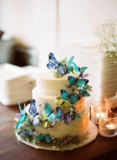 Butterfly topped wedding cake