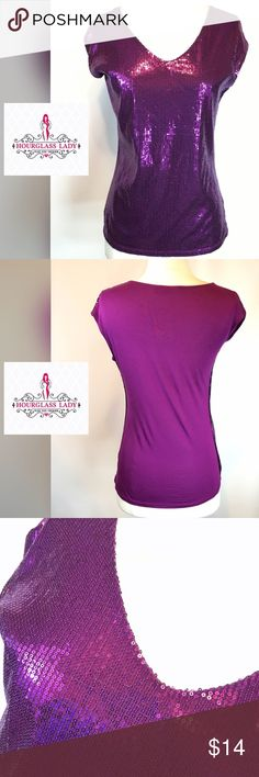 """SOLDPurple Sequined blouse Perfect for summertime! Purple Sequined blouse Another gorgeous addition to your summer wardrobe. Pair with skinny crops or your fav distressed cut offs. Perfect! Size S, bust 18"""" across, 26"""" long Very gently worn, no missing sequins  Polyester/rayon blend ‼️PRICE FIRM UNLESS BUNDLED‼️ Create a bundle for 15% off! Thanks for looking✌️❌NO TRADES❌ Express Tops"""