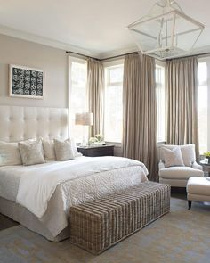 i love that storage bench at the foot of the bed for towels and the headboard