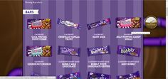 The is the product page. There is a small categories page before the categories of cadbury chocolate. User can search the cadbury chocolate they want by clicking the types and ingredients. The website will show user the chocolate they are searching for. It makes users simple to search. Cadbury Dairy Milk Chocolate, Mint Chocolate, Milk Cookies, Honeycomb, Searching, Vanilla, Bubbles, Candy, Website