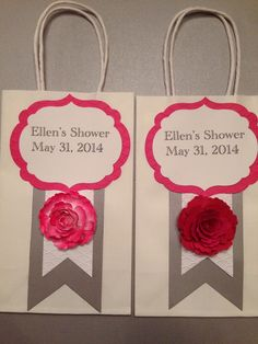 Bridal shower favor bags, handmade Stampin up flowers.