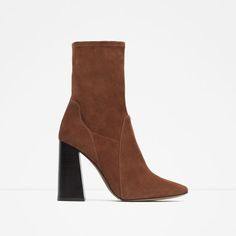 Image 1 of SUEDE HEEL ANKLE BOOTS from Zara
