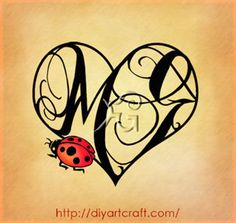 Tattoo fantasy con maiuscole MG: 6 illustrazioni decorative ladybug-MG-cuore-tattoo – tattoo diyartcraft