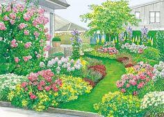 Rasenweg durch Rosengarten