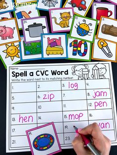 Students choose a picture card and spell the CVC word onto the worksheet. Kindergarten Centers, Kindergarten Literacy, Literacy Activities, English Activities, First Grade Reading Comprehension, Reading Fluency, Literacy Stations, Literacy Centers, Reading Centers