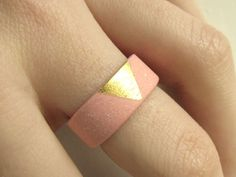 Gilded Jewelry - Gold and Pink Porcelain Sunset Ring - Size 7.5 - Size P. $50.00, via Etsy.