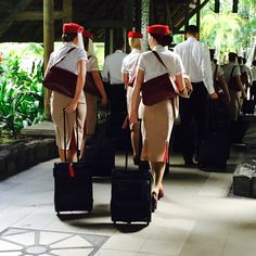 Emirates flight attendants off to work