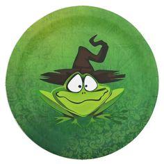 Halloween Frog Paper Plate   Zazzle.com