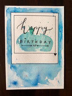 DIY Aquarellkarte #geburtstag #karten #cards #birthday #diy #aquarell #ideen #polaroid Bullet, Polaroid, Watercolor, Birthday, Cards, Diy, Watercolor Painting, Watercolor Map, To Draw