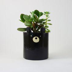 Black Bear Planter Plant Pot Ceramic Animal by MinkyMooCeramics