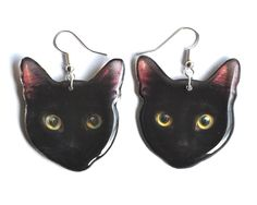 Black cat resin earrings with love from Barking King