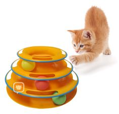 Interactive Cat Toy with Moving Ball Great physical and mental exercise for your cat!! cat stuff, cat toys, cat products for cats, cat products, products for cats.