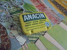 Repurposed Anacin aspirin tin necklace by salvagegardener on Etsy
