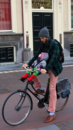 Dad, child, bike.