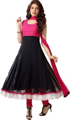 So Roposo - An Inspired Fashion View: Rozdeal Georgette Embroidered Semi-stitched Salwar...