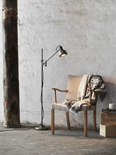 Industriell Angehauchte Stehlampe MAGNUM In Grau/schwarz Mit Verstellbarem  Arm.   Leselicht   #