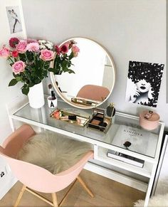 #Vanity #Bedroom #Desk #Chair #Pink #Flowers #Mirror #Chic - Architecture and Home Decor - Bedroom - Bathroom - Kitchen And Living Room Interior Design Decorating Ideas - #architecture #design #interiordesign #homedesign #architect #architectural #homedec