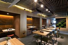YOD Design Studio has given a contemporary twist to the interior design of a restaurant in downtown Kiev, whilst instilling the spirit of one of the Ukraine's Odessa Restaurant, Modern Restaurant, Restaurant Interior Design, Design Studio, Design Lab, Square Dining Tables, Dining Table Chairs, Dining Nook, Dining Sets