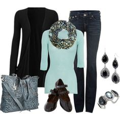 """""""Black and Aqua"""" by smores1165 on Polyvore"""