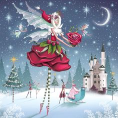 The Rose Fairy - Christmas Card Pack of 5 Christmas Fairy, Christmas Love, Christmas Pictures, All Things Christmas, Vintage Christmas, Christmas Crafts, Christmas Decorations, Christmas Carol, Illustration Noel