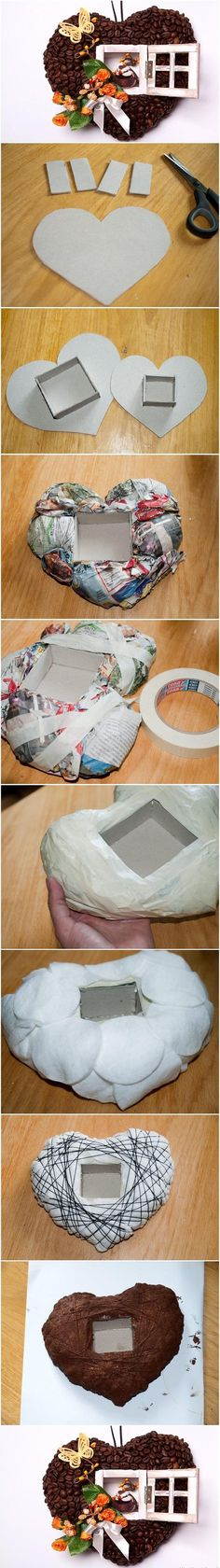 paper mache shadow box. Good step by step that could be used for any shape.