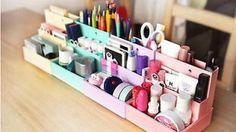 Home Organisation Diy Makeup Cosmetic Stationery Paper Board Storage Box Desk Decor Organizer Au & Garden Cosmetic Box, Cosmetic Storage, Makeup Storage, Makeup Drawer, Organizer Box, Make Up Organizer, Cardboard Storage, Diy Storage Boxes, Storage Ideas