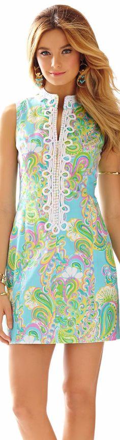 LILLY PULITZER ALEXA HIGH COLLAR SHIFT DRESS: