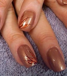 copper tone by aliciarock - Autumn Nail Designs * Fall Nail Designs * Autumn Nail Art