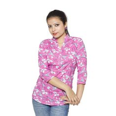 "This hot pink kurti-style top has graphic print on it and makes it a ""pinky"" choice for day out. The collar with V-neck and tucked in pearl buttons give this three-quarter sleeved top a simple yet elegant look."