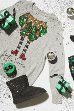 Get ready for your close-up in a selfie-ready sweatshirt! Click through for all of our shareable sequin chic. Tacky Christmas, Winter Christmas, All Things Christmas, Christmas And New Year, Christmas Holidays, Christmas Decorations, Merry Christmas, Ugly Xmas Sweater, Christmas Sweaters
