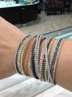 Swarvoski...Love these bracelets.