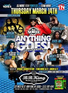 DJ Norie's Anything Goes Live Year 2 Show @ BB Kings Thursday March 14, 2013