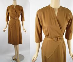 Vintage 1950s Brown Gabardine Flare Skirt Wrap Dress - Perkins Sz S B36 W25 by alleycatsvintage on Etsy